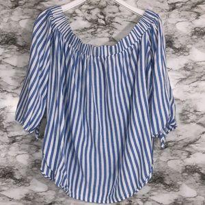 Old Navy Blue & White Striped Off-Shoulder Top